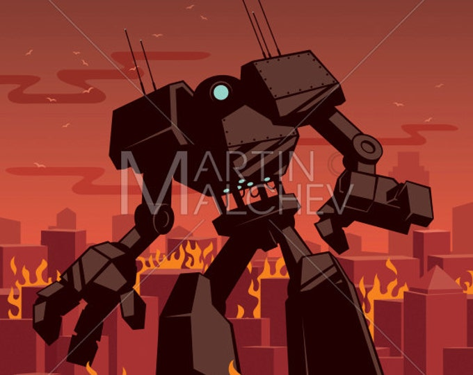 Giant Robot - Vector Cartoon Illustration.  transformer, android, city, cityscape, destruction, ruin, future, machine, sci-fi, technology,