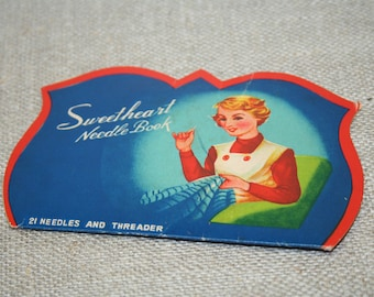 Sweetheart Needle Book, Vintage sewing notions