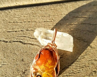 Beautiful Tumbled Stone Wire Wrapped Pendant