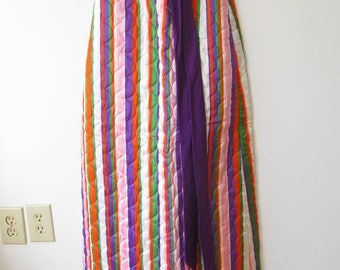 Vintage 60s Lanz Striped Quilted Maxi Skirt  1960s Mod Purple Pink Orange Green Striped Skirt XS