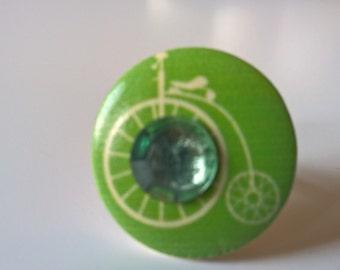 Penny Farthing Ring, Green Ring, Wooden Ring, Rhinestone Ring, Retro Ring, Silver Ring, Adjustable Ring, Bicycle Ring, Steampunk Ring
