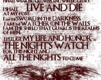 Oath Of The Night's Watch Poster, Game of Thrones, Jon Snow