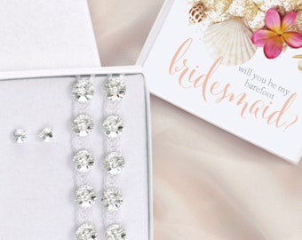 Will you be my barefoot Bridesmaid gift box, barefoot sandals and studs, beach wedding Maid of Honor jewelry set