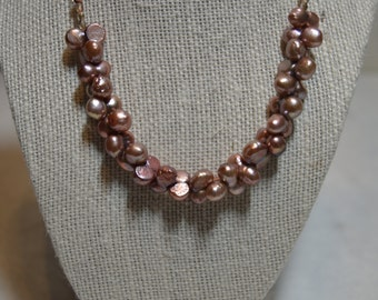 Copper Pearl Necklace (N17)