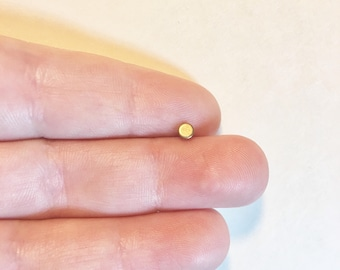 Minimal 3mm Circle Dot Brass Pick Your Hypoalergenic Post. Perfect for Helix, Lobe, Labret, Tragus Piercing
