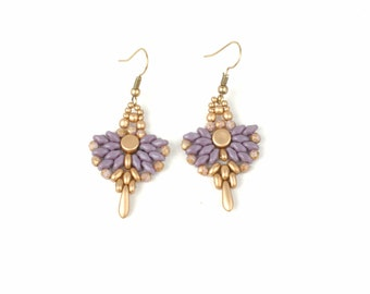 Lavender earrings Mat gold Boho earrings Beadwork Earrings Beaded Earrings Violet lilac earrings jewelry Bohemian jewelry gift for her