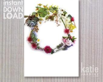 wedding invitation - instant invitation - template - wedding invite - downloadable invite - floral wreath