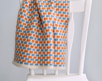 Turquoise and Tangerine Baby Blanket, Crib Blanket,  READY TO SHIP Newborn Photo Prop