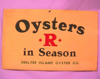 Vintage Cardboard Oyster Sign