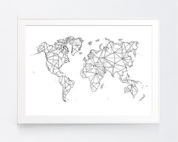 World map geometric origami zen japanese black white map gumiabroncs Images