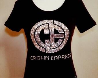 """Crown Empress """"Monogram"""" - Genuine Swarovski Crystal Embellished Scoop Neck Fitted Top"""