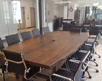 Conference Table Made With Reclaimed Wood 2.5 Inches Thick And Steel Legs.  Custom Projects And Designs Welcome.
