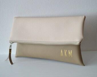 Monogrammed clutch purse, Foldover clutch, Bridesmaids gift, Wedding accessories