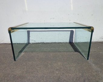 Coffee Table Leon Rosen for Pace Waterfall Mid Century Modern Brass Glass Hollywood Regency Living Room Vintage Retro Media Furniture MCM