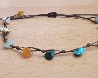 Fußkettchen leg bracelet Armband  natürlichen Chip Stein Chip-Armband, böhmische Armband