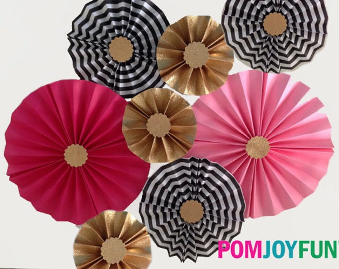 Pink, Hot Pink, Glittery Gold, and Black Rosettes, Kate Spade inspired Rosettes or Paper Medallion |  Party Backdrops | Kate Spade Style