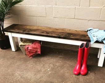 Custom Built Farm House Bench, Kitchen Table Bench, Entryway Bench, Mud Room, Front Porch, Custom Painted, Rustic Bench, 5, 6, 7, 8, 9 Foot