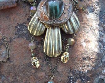 Egyptian Revival Scarab Necklace--Swarovski Scarabs