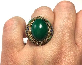 Malachite Ring, Vintage Chinese Ring, Vintage Malachite Ring, Chinese Vintage Malachite Gilt Silver Enamel Filigree Ring from the 50s