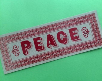 PEACE PRINT Rustic sign to frame Red letterpress poster Typographic sign Holiday home decor Oversized peace card Peace wall decor Love art
