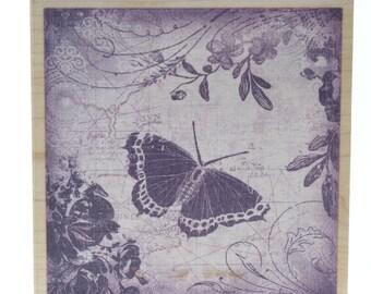 Inkadinkado Butterfly Garden Collage Swirls Vines Wooden Rubber Stamp