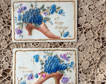 Antique Postcards Set of Two Flocked   Forget Me Nots in Shoes