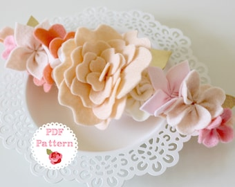 COCO FLOWER CROWN Pdf Pattern - Valentines, fairy crown, felt, hair crown, flower girl, dress up, felt succulents, felt flowers, wreath