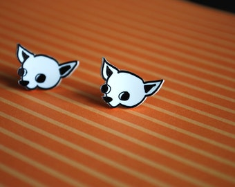 Chihuahua Earrings -- Studs, Black and White Chihuahuas, Handmade, Dog Earrings