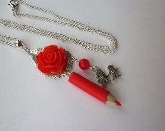pencil red necklace school, back to school kids gift or teacher thank you teacher