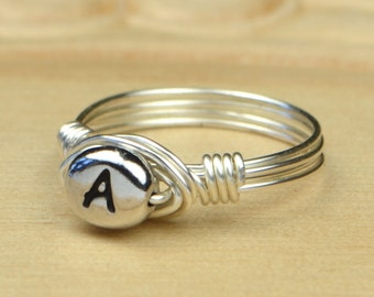 Pewter Letter A Monogram Initial Wrapped Ring- Sterling Silver, Yellow or Rose Gold Filled Wire-Size 4 5 6 7 8 9 10 11 12 13 14 1/4 1/2 3/4