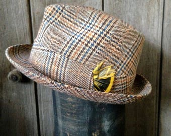 vintage mens biltmore / biltmore fedora / plaid fedora /  plaid biltmore / mens hat size 7 1/8