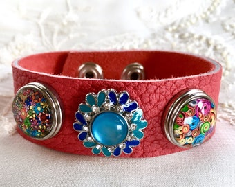 Noosa Style Bracelet, Snap Charm Bracelet, Leather Bracelet, Noosa Snaps, Snap Buttons, Ginger Snaps, Coral Leather