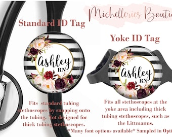 Floral Personalized Stethoscope ID tag, Personalized Stethoscope Name Tag, Monogram Stethoscope Name Tag, Stethoscope Name ID Tag, MB468