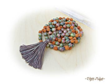 Mala Beads 108, Yoga Prayer Beads, Knotted Mala Necklace, Meditation, Japa, Rudraksha, Unakite, Calming, Loving, Spiritual, Empowering, Gift