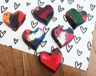 6 Valentine Heart Crayons