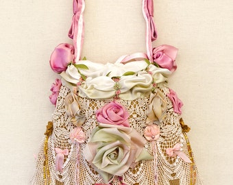 Luxury Silk Ribbon Work Silk Velvet Victorian Inspired Bridal Reticule Drawstring Purse