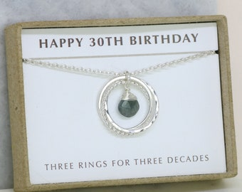 30th birthday gift, March birthstone necklace, aquamarine necklace, March birthday jewelry, 30th gift for her - Lilia