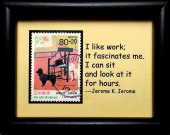 Poodle Dog Japan -Handmade Framed Postage Stamp Art 0808W