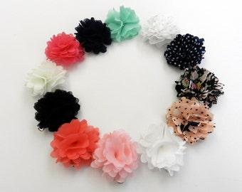 Girls hair clip flower hair clip , chiffon flowers 2 inch flower hair clip set ,flower hair clip set stocking stuffers
