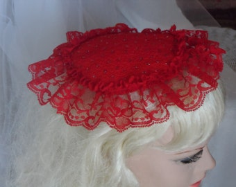 Womens Red Lace Kippah,  Jewish Head Covering, Kippot for Ladies, Wedding Kippah,  Chapel Head Cover, Ladies or Teen Girls