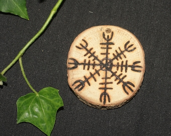 English Oak Wood Aegishjalmr or Helmet of Awe Pendant - for Strength and Courage - Pagan, Wiccan, Witchcraft