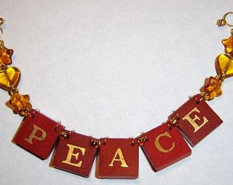 PEACE - Red Vintage Game Tile Ornament