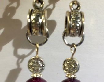 Burgundy and Silver Dangle Earrings