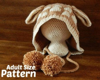 Adult Deer Hat - Finley Fawn Pattern : Knitting Pattern, Knit Adult Hat, Knit Teen Hat, Fall Knit Hat