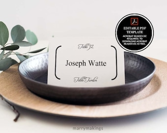 Place Card Template, Wedding Template, Editable DIY Place Card, Printable Place Card, Wedding Place Card, Instant Download, PDF, template,11