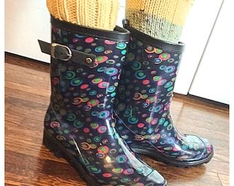 Boot Cuffs, Boot Socks, Knit Boot Cuffs, Knit Boot Socks, Blue and Grey Boot Cuffs, Blue and Grey Boot Socks, Reversible Boot Cuffs
