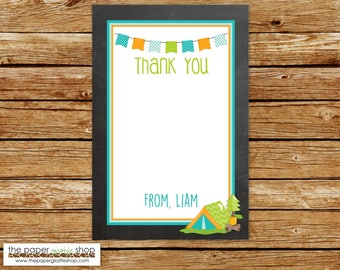 Camping Thank You Card | Blue Chalkboard Camping Thank You | Glamping Thank You Card | DIY Printable