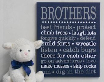 BROTHERS Navy and Gray Sign. Sibling Wall Art, Kids Room Decor,  Nursery Art, Playroom, Nursery Subway Art, Baby Boy Wall / Room Art Decor