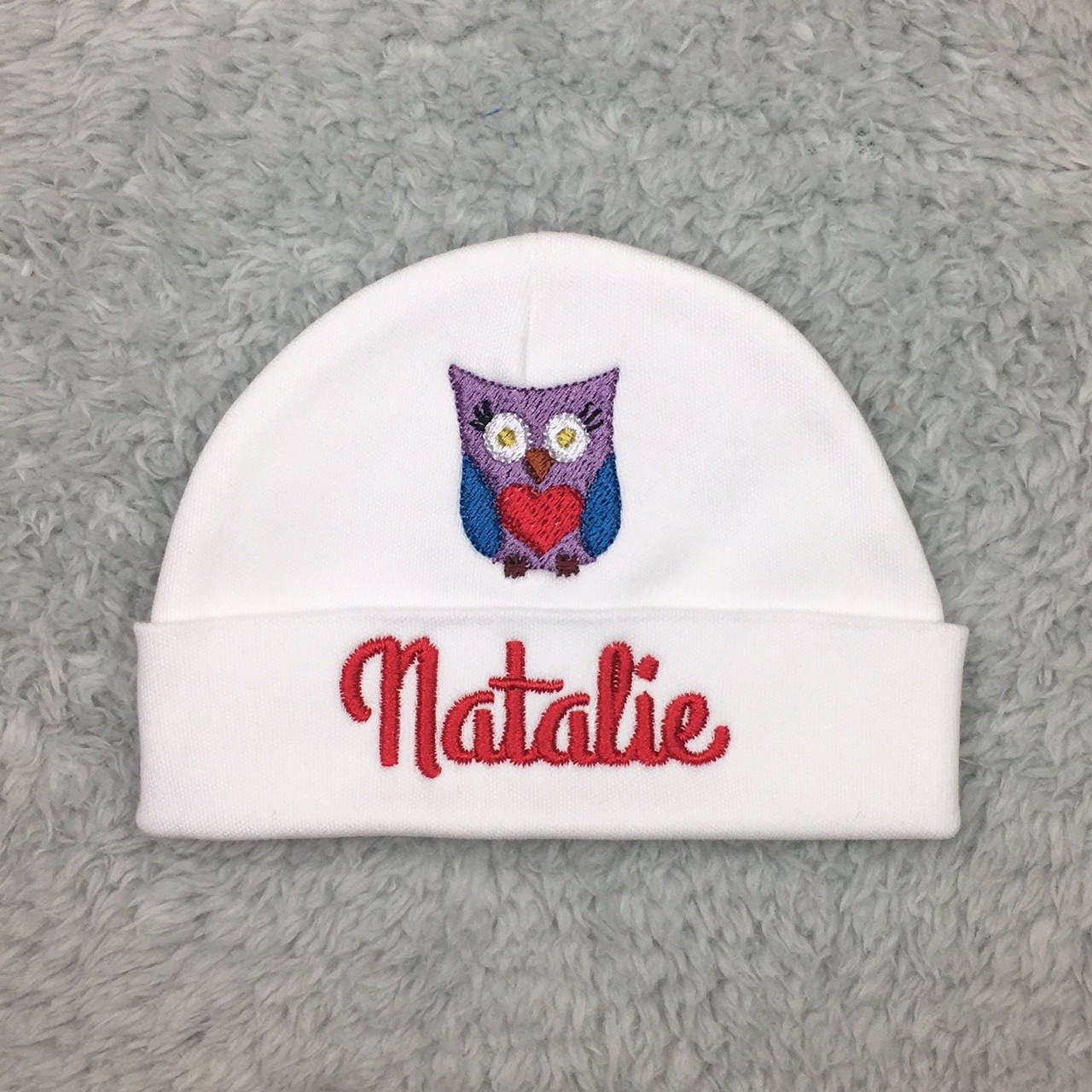 d490452396125 Personalized baby hat with owl - micro preemie
