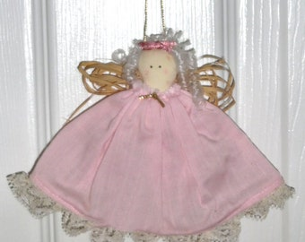 Little Angel Ornament with Pink Dress, Raffia Wings & Gold Cord